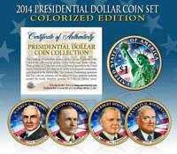 2014 Presidential $1 Dollar COLORIZED President 4-Coin Complete Set w/Capsules