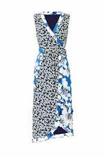 Nicole Miller Women's Dress Blue Size 8 Sheath Faux Wrap Floral Silk $465- #885