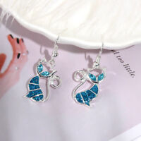 Fashion Women Elegant Gift Drop Dangle Opal Cat Earrings Hook Ear Stud Jewelry