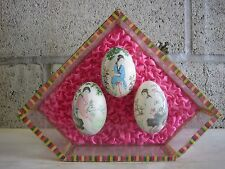 CUTE VTG! Unique Asian Eggs in Glass / Wood case! Hand Painted Japanese Chinese