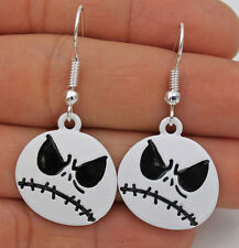 925 Silver Plated Hook -1.7'' Punk Jack Nightmare Before Christmas Earrings #17