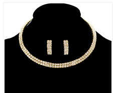 2 LINE GOLD CLEAR LAYERED RHINESTONE CHOKER SET WITH HANGING EARRINGS