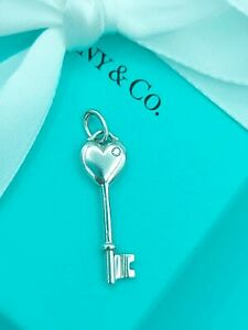 "Tiffany & Co Sterling Silver Heart Key Pendant/ Charm with a Diamond 1.1""Genuine"