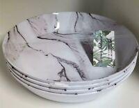NEW Tommy Bahama Set of 4 Melamine Pasta Salad bowls Marble Pattern Black/white