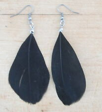 Dazzling BLACK FEATHER Dangle Drop SILVER TONE EARRINGS *FREE SHIP*