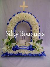 Artificial Silk Funeral Flowers Gates of Heaven Wreath Memorial Tribute False