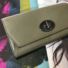 Coach Leather Madison Slim Envelope Wallet Clutch Turnlock 51968 QBD1R NWT