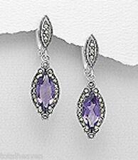 """Amethyst Marcasite Earrings Sterling Silver Dangle 1.5"""" Solid Latch Backs 8.65g"""