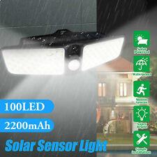 Solar Flood Light Motion Sensor Security Spot Wall Street Yard Outdoor LED Lamp