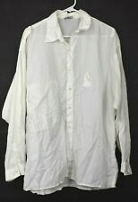 Marithe Francois Girbaud Women White Button Up Long Sleeve Shirt Large