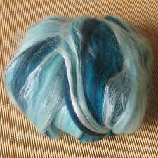 100g Dyed Merino Wool & Tussah Silk Blend - Calypso - Felt Making, Spinning