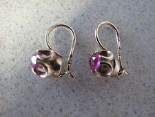 Russian Rose Gold Earrings Pink Tourmaline stone hook loop  Soviet vintage 583