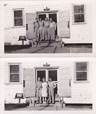 2 Real Photos 1950s Group Men in Military Uniform, 1 Young Woman Edgar & Buddies