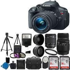 Canon Eos Rebel T5I Camera 4 Lens 18-55mm STM + Sigma 70-300 DG + 24GB Top Kit