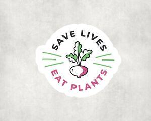 2 x Save Lives Eat Plants Vegan Sticker Car Bike Seal Laptop Indoor Decals