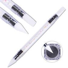 Double Way Rhinestone Nail Art Brush Pen Silicone Head Carving Dotting Tool jp