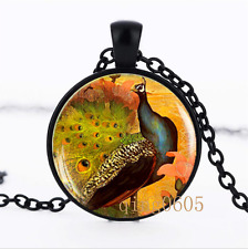 Victorian Style Peacock photo Glass Dome black Chain Pendant Necklace wholesale