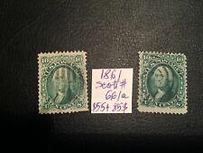 United States stamp 1861 Washington 10c green/dark green Scott # 66/66a USED