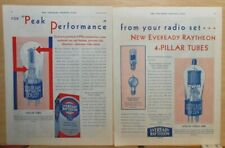 1930 2 page magazine ad for Eveready Raytheon 4-Pillar Radio Tubes - last longer