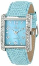 Peugeot Womens 3009BL Silver-Tone Swarovski Crystal Accented Blue Leather Strap