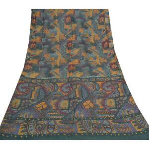 Sanskriti Vintage Green Sarees 100% Pure Silk Printed Sari Craft 5 Yard Fabric