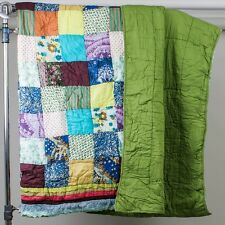 Soft & Modern Patchwork Quilt King Size Bright Colors Embroidered Eyelet Trim