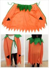Kids Pumpkin Cape Halloween Costume Witch Girls Orange Fancy Dress Cloak Witch