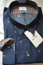 Paul Smith Smart Tailored Fit Blue Hands Patterned Men's Shirt: Sizes: S/M/XL