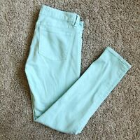 J.Crew Stretch Toothpick Skinny Ankle Jeans Women's Size 25 Mint Green Denim
