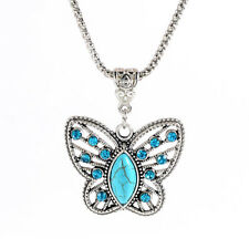 "BUTTERFLY Necklace with Turquoise Blue Rhinestnes 1 1/4"" x 1 1/2"" with 18"" Chain"