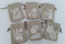 Mini Burlap printed drawstring Coffee bags  Starbucks set of 6