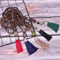 Women Boho Vintage Tassel Necklace Bead Tibetan Silver Pendant Necklace Jewe Hf