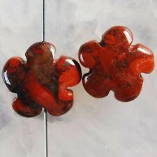 G85091 15x6 Pair Flame Jaspe Flower Pendant Bead