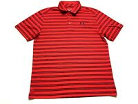 Under Armour Mens Red Striped Short Sleeve Polo Shirt Size Large