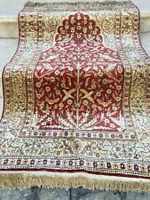 Auth: 30's Antique  Shimmering SILK Turkish Rug  Birds of Paradise Red 3'x4'  NR