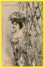 """cpa BERGERET Dos 1900 FEMME Langage des FLEURS """"GLYCINE"""" Journal L'ECLAIR"""