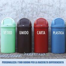 adesivo wall stickers bidoni raccolta differenziata carta umido vetro plastica