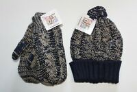 Women's Muk Luks Eternity Hat and Mittens Navy Blue and Tan