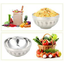 Dual-Layers Container Rice Double-Deck Stainless Steel Bowls Silver Color