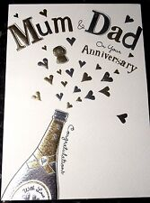 Mum & Dad Anniversary Card by Macaroon Cards. Champers Theme. 60 available.