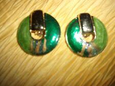 Metal Clip On Earring Vintage Pair Of Green Tone