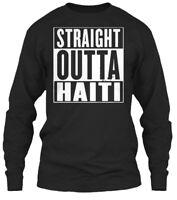 Haiti Straight Outta - Gildan Long Sleeve Tee T-Shirt
