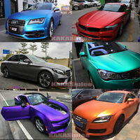 10 Colors - Car Stretch Satin Matte Metallic Chrome Vinyl Wrap Sticker Film CF