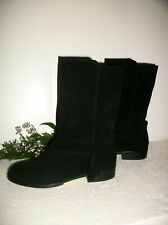 LANDS' END 7B Mid Calf Boots Black Suede w/Tassels