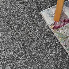 SOFT 9mm Thick Silver Grey Felt Back Saxony Carpet Remnant/Roll End 3.5m x 4m