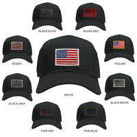 6df908a929e USA American Flag Embroidered Patch Snapback Mesh Trucker Cap - BLACK