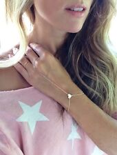 Women Gold Finger Ring Slave Heart pendant Hand Harness Chain Bracelet Jewelry