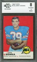 1969 topps #120 LARRY CSONKA miami dolphins rookie (50-50 CENTERED) BGS BCCG 8
