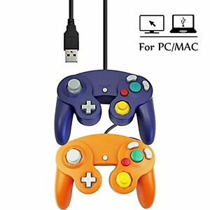 Lot Of 2 USB Wired Controller Gamepad GameCube For Windows PC MAC Purple And Gam
