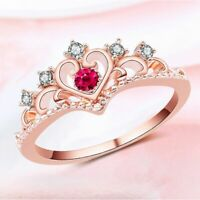 Women Rose Gold Love Heart Crown Ring Silver Plated Crystal Rhinestone
